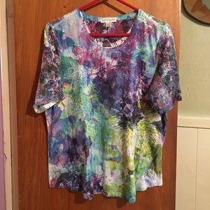 Colorful half lace tee sz XL